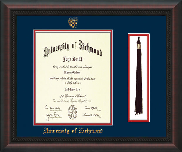University of Richmond Diploma Frame - Mahogany Braid - w/Embossed Seal & Name - Tassel Holder - Navy on Red mats