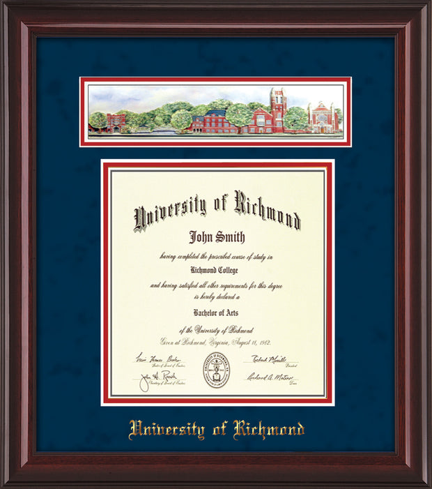 University of Richmond Diploma Frame - Mahogany Lacquer - w/Embossed School Name Only - Campus Collage - Navy Suede on Red mat