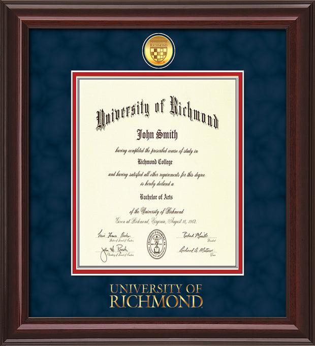 Image of University of Richmond Diploma Frame - Mahogany Lacquer - w/24k Gold-Plated Medallion UR Wordmark Embossing - Navy Suede on Red mats - LAW