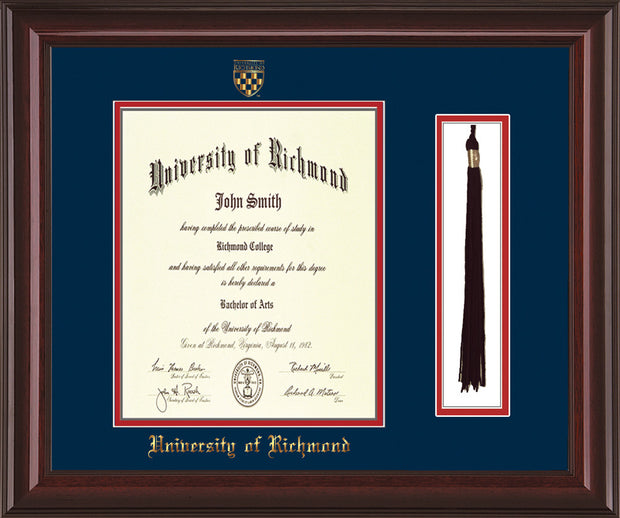 University of Richmond Diploma Frame - Mahogany Lacquer - w/Embossed Seal & Name - Tassel Holder - Navy on Red mats