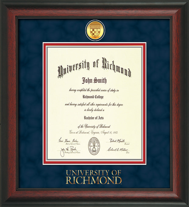 Image of University of Richmond Diploma Frame - Rosewood - w/24k Gold-Plated Medallion UR Wordmark Embossing - Navy Suede on Red mats - LAW