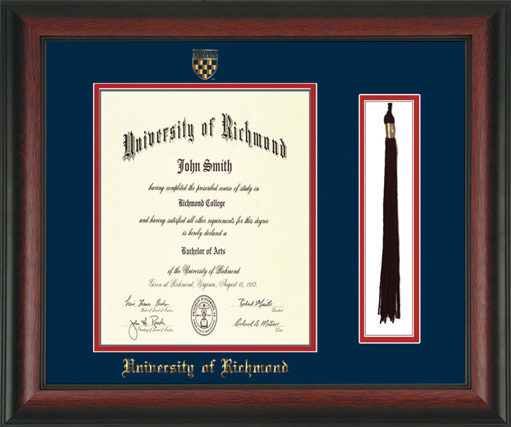 University of Richmond Diploma Frame - Rosewood - w/Embossed Seal & Name - Tassel Holder - Navy on Red mats