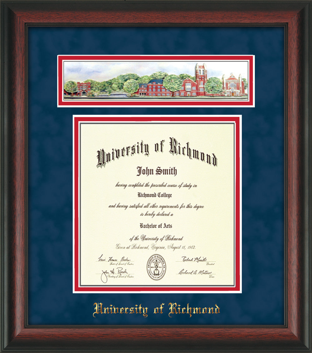 university of richmond diploma frame rosewood collage navy red
