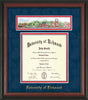 University of Richmond Diploma Frame - Rosewood - w/Embossed School Name Only - Campus Collage - Navy Suede on Red mat