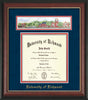 University of Richmond Diploma Frame - Rosewood w/Gold Lip - w/Embossed School Name Only - Campus Collage - Navy Suede on Red mat