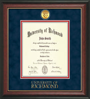 Image of University of Richmond Diploma Frame - Rosewood w/Gold Lip - w/24k Gold-Plated Medallion UR Wordmark Embossing - Navy Suede on Red mats - LAW