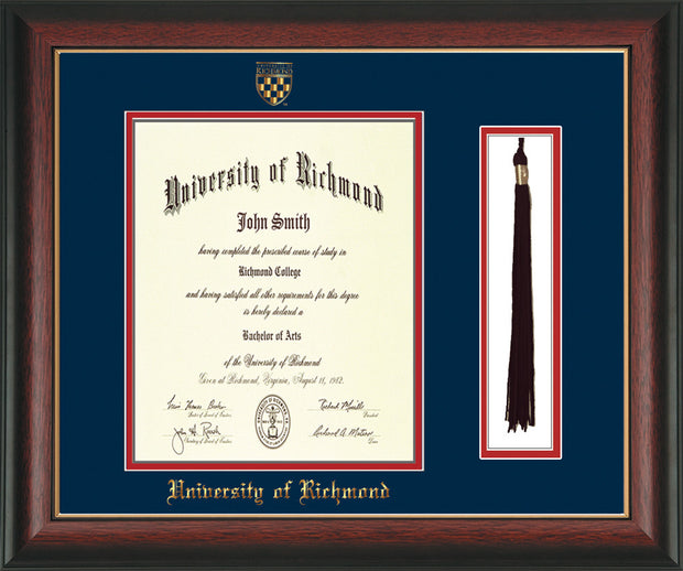 University of Richmond Diploma Frame - Rosewood w/Gold Lip - w/Embossed Seal & Name - Tassel Holder - Navy on Red mats