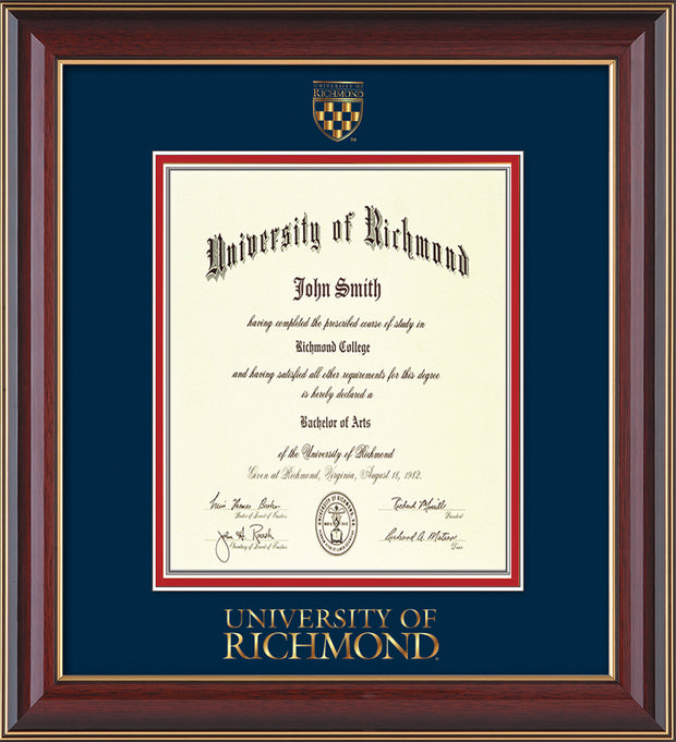 Image of University of Richmond Diploma Frame - Cherry Lacquer - w/24k Gold-Plated Medallion UR Wordmark Embossing - Navy Suede on Red mats - LAW