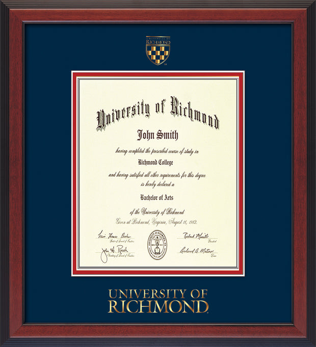 Image of University of Richmond Diploma Frame - Cherry Reverse - w/Embossed Seal & Wordmark - Navy on Red mats - LAW