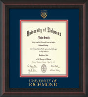 Image of University of Richmond Diploma Frame - Mahogany Braid - w/Embossed Seal & Wordmark - Navy on Red mats - LAW