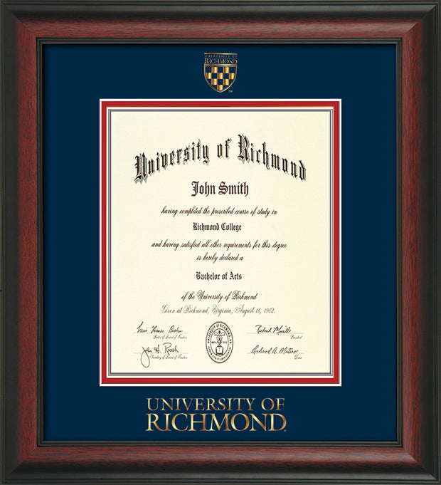 Image of University of Richmond Diploma Frame - Rosewood - w/Embossed Seal & Wordmark - Navy on Red mats - LAW