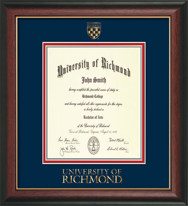 Image of University of Richmond Diploma Frame - Rosewood w/Gold Lip - w/Embossed Seal & Wordmark - Navy on Red mats - LAW