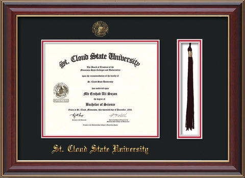 Image of St. Cloud State University Diploma Frame - Cherry Lacquer - w/SCSU Embossed Seal & Name - Tassel Holder - Black on Red mat