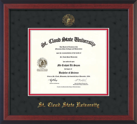 Image of St. Cloud State University Diploma Frame - Cherry Reverse - w/SCSU Embossed Seal & Name - Black Suede on Red mat