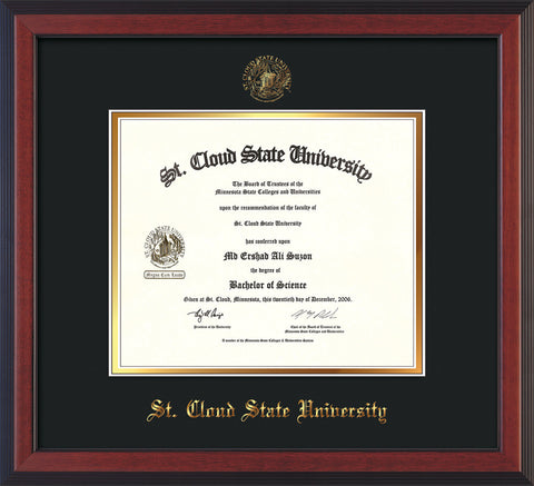 Image of St. Cloud State University Diploma Frame - Cherry Reverse - w/SCSU Embossed Seal & Name - Black on Gold mat