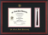 Image of St. Cloud State University Diploma Frame - Cherry Reverse - w/SCSU Embossed Seal & Name - Tassel Holder - Black on Red mat