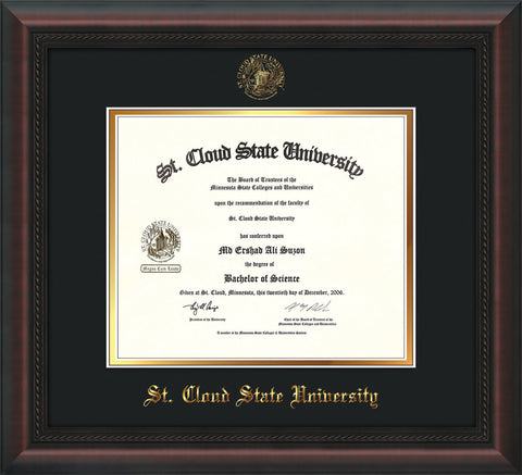 Image of St. Cloud State University Diploma Frame - Mahogany Braid - w/SCSU Embossed Seal & Name - Black on Gold mat