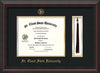 Image of St. Cloud State University Diploma Frame - Mahogany Braid - w/SCSU Embossed Seal & Name - Tassel Holder - Black on Gold mat