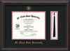 Image of St. Cloud State University Diploma Frame - Mahogany Braid - w/SCSU Embossed Seal & Name - Tassel Holder - Black on Red mat