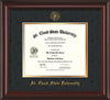 Image of St. Cloud State University Diploma Frame - Mahogany Lacquer - w/SCSU Embossed Seal & Name - Black Suede on Gold mat