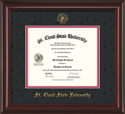 Image of St. Cloud State University Diploma Frame - Mahogany Lacquer - w/SCSU Embossed Seal & Name - Black Suede on Red mat