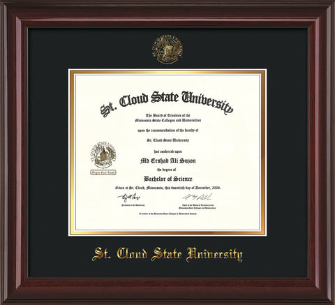 Image of St. Cloud State University Diploma Frame - Mahogany Lacquer - w/SCSU Embossed Seal & Name - Black on Gold mat