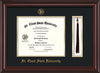 Image of St. Cloud State University Diploma Frame - Mahogany Lacquer - w/SCSU Embossed Seal & Name - Tassel Holder - Black on Gold mat