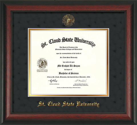 Image of St. Cloud State University Diploma Frame - Rosewood - w/SCSU Embossed Seal & Name - Black Suede on Gold mat