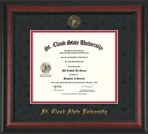 Image of St. Cloud State University Diploma Frame - Rosewood - w/SCSU Embossed Seal & Name - Black Suede on Red mat