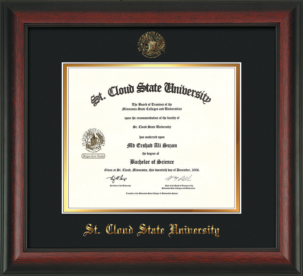 St Cloud State Diploma Frame Rosewood W Scsu Seal Black