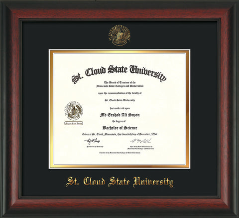 Image of St. Cloud State University Diploma Frame - Rosewood - w/SCSU Embossed Seal & Name - Black on Gold mat