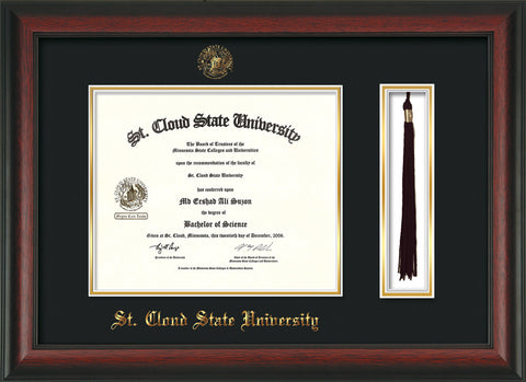 Image of St. Cloud State University Diploma Frame - Rosewood - w/SCSU Embossed Seal & Name - Tassel Holder - Black on Gold mat