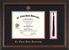 Image of St. Cloud State University Diploma Frame - Rosewood - w/SCSU Embossed Seal & Name - Tassel Holder - Black on Red mat