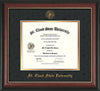 Image of St. Cloud State University Diploma Frame - Rosewood w/Gold Lip - w/SCSU Embossed Seal & Name - Black Suede on Gold mat