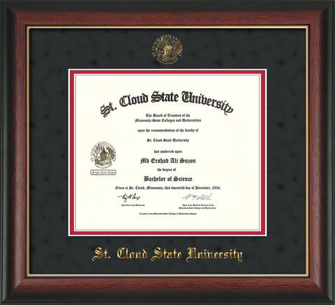 Image of St. Cloud State University Diploma Frame - Rosewood w/Gold Lip - w/SCSU Embossed Seal & Name - Black Suede on Red mat