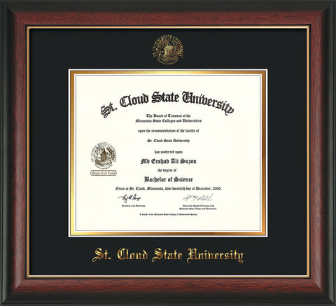Image of St. Cloud State University Diploma Frame - Rosewood w/Gold Lip - w/SCSU Embossed Seal & Name - Black on Gold mat