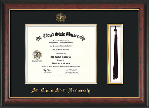 Image of St. Cloud State University Diploma Frame - Rosewood w/Gold Lip - w/SCSU Embossed Seal & Name - Tassel Holder - Black on Gold mat