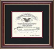 Image of Saint Joseph's University Diploma Frame - Cherry Lacquer - No Embossing - Black on Crimson mat