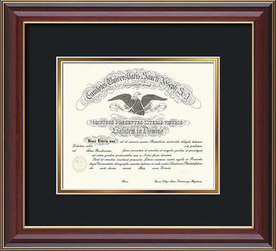 Image of Saint Joseph's University Diploma Frame - Cherry Lacquer - No Embossing - Black on Gold mat