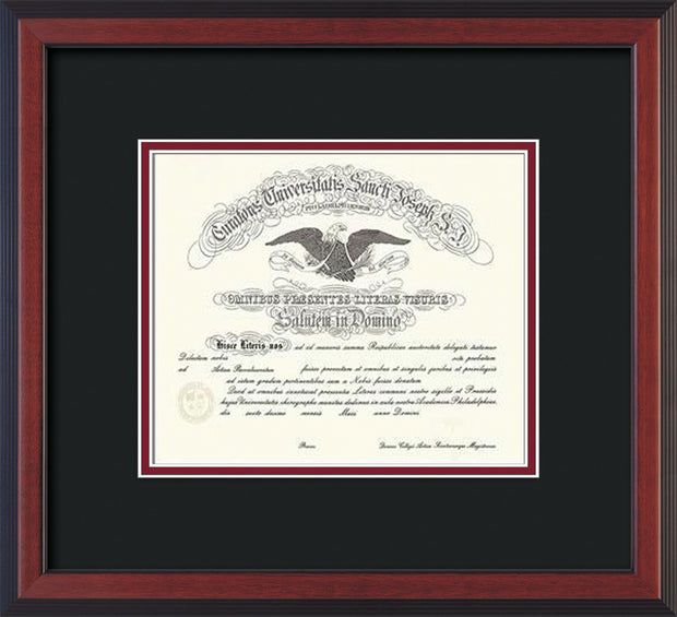 Image of Saint Joseph's University Diploma Frame - Cherry Reverse - No Embossing - Black on Crimson mat