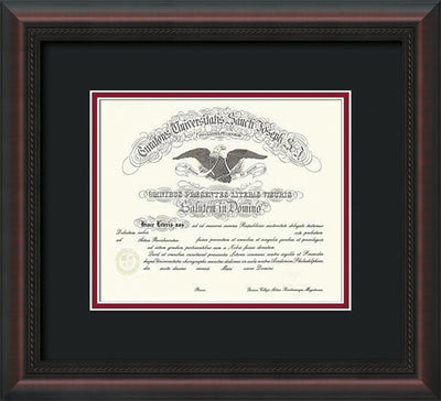 Image of Saint Joseph's University Diploma Frame - Mahogany Braid - No Embossing - Black on Crimson mat