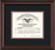 Image of Saint Joseph's University Diploma Frame - Mahogany Lacquer - No Embossing - Black on Crimson mat