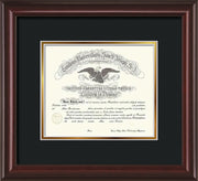 Image of Saint Joseph's University Diploma Frame - Mahogany Lacquer - No Embossing - Black on Gold mat
