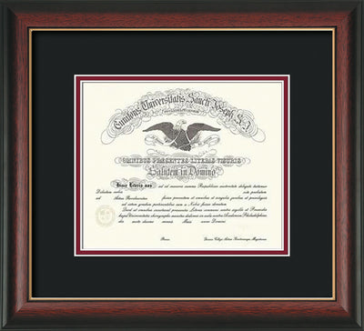 Image of Saint Joseph's University Diploma Frame - Rosewood w/Gold Lip - No Embossing - Black on Crimson mat