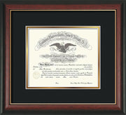 Image of Saint Joseph's University Diploma Frame - Rosewood w/Gold Lip - No Embossing - Black on Gold mat