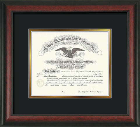 Image of Saint Joseph's University Diploma Frame - Rosewood - No Embossing - Black on Gold mat