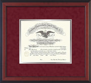 Image of Saint Joseph's University Diploma Frame - Cherry Reverse - No Embossing - Crimson Suede on Silver mat