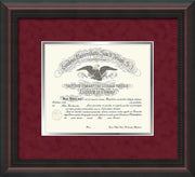 Image of Saint Joseph's University Diploma Frame - Mahogany Braid - No Embossing - Crimson Suede on Silver mat