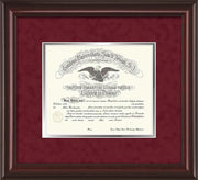 Image of Saint Joseph's University Diploma Frame - Mahogany Lacquer - No Embossing - Crimson Suede on Silver mat