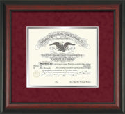 Image of Saint Joseph's University Diploma Frame - Rosewoood - No Embossing - Crimson Suede on Silver mat